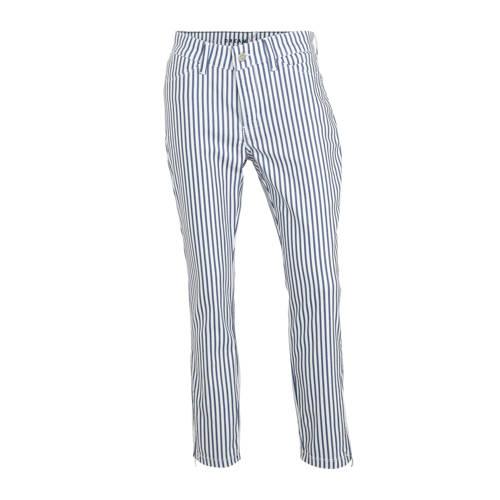 MAC gestreepte regular fit broek wit/blauw