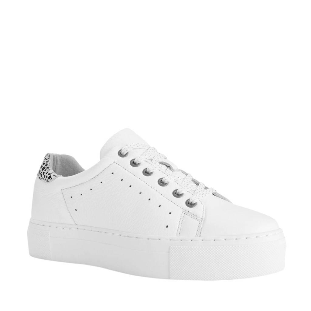 PS Poelman   leren plateau sneakers wit, Wit