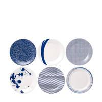 Royal Doulton ontbijtborden Pacific (set van 6), Wit,blauw
