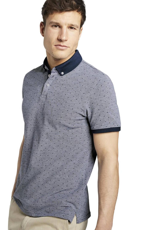 Tom Tailor gemêleerde regular fit polo donkerblauw, Donkerblauw
