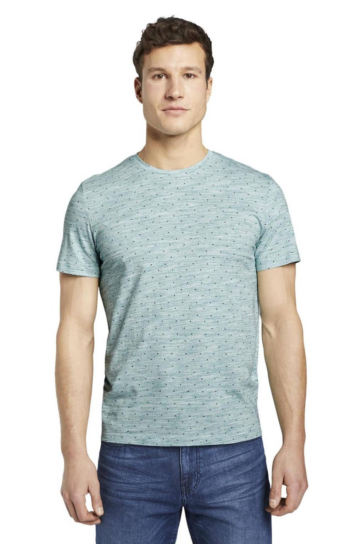 Tom Tailor T-shirt met all over print mintgroen melange, Mintgroen melange