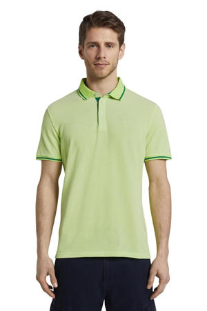 regular fit polo met contrastbies lichtgroen