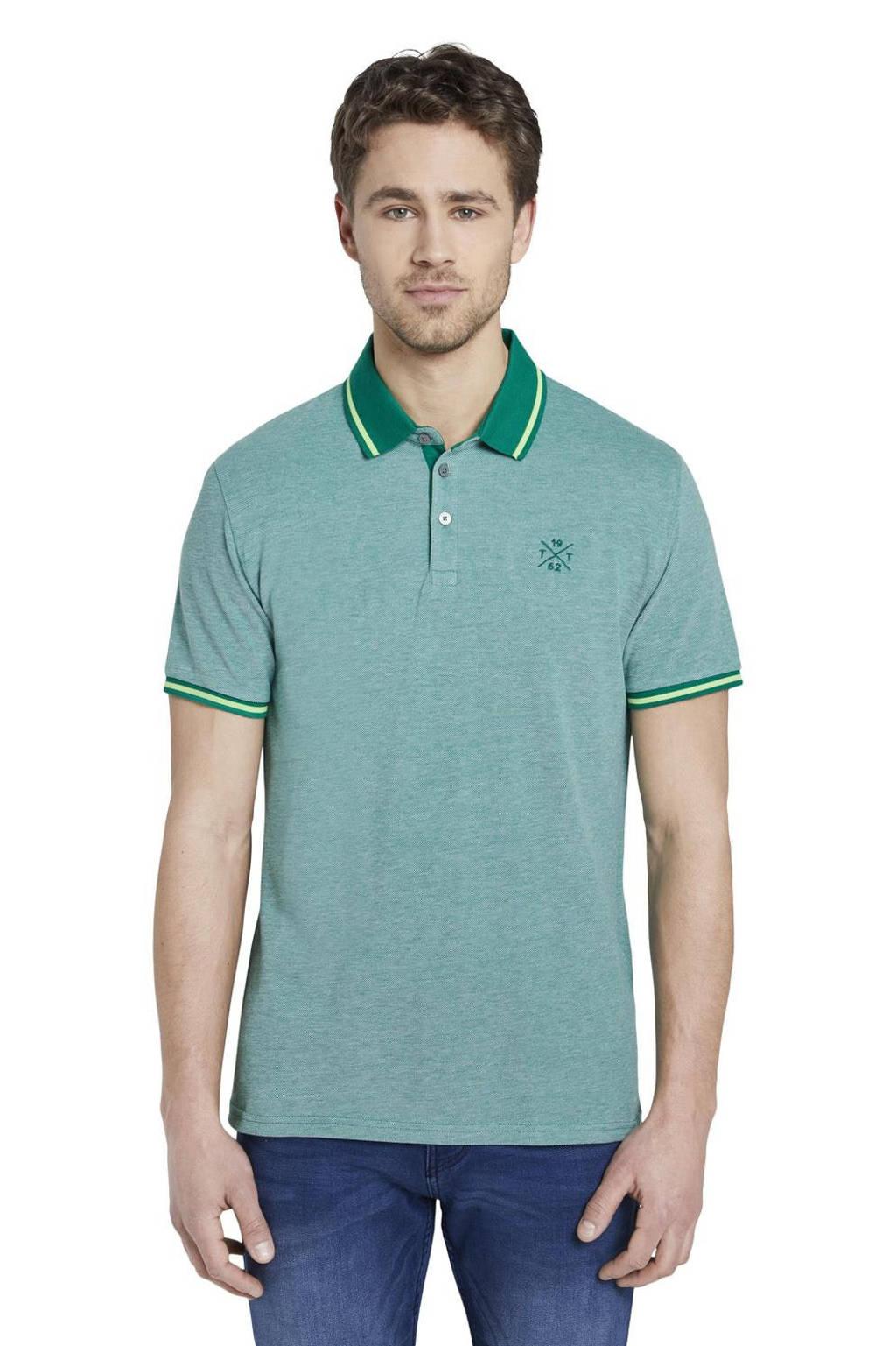 Tom Tailor regular fit polo met contrastbies groen, Groen