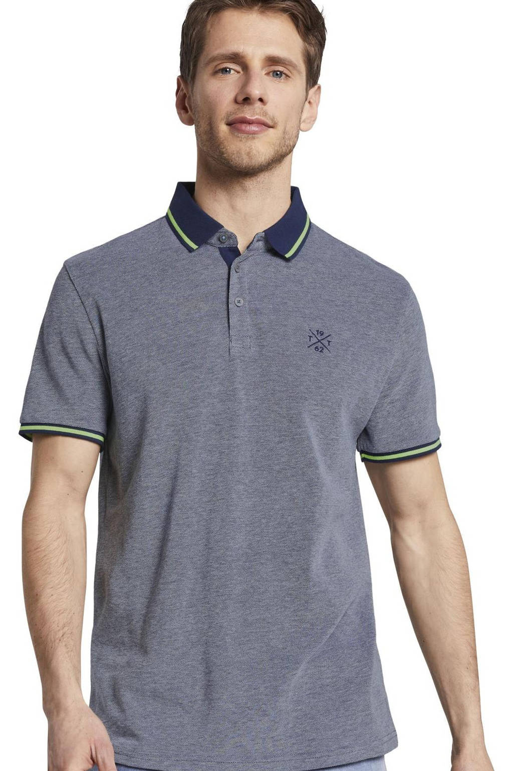 Tom Tailor regular fit polo met contrastbies donkerblauw, Donkerblauw