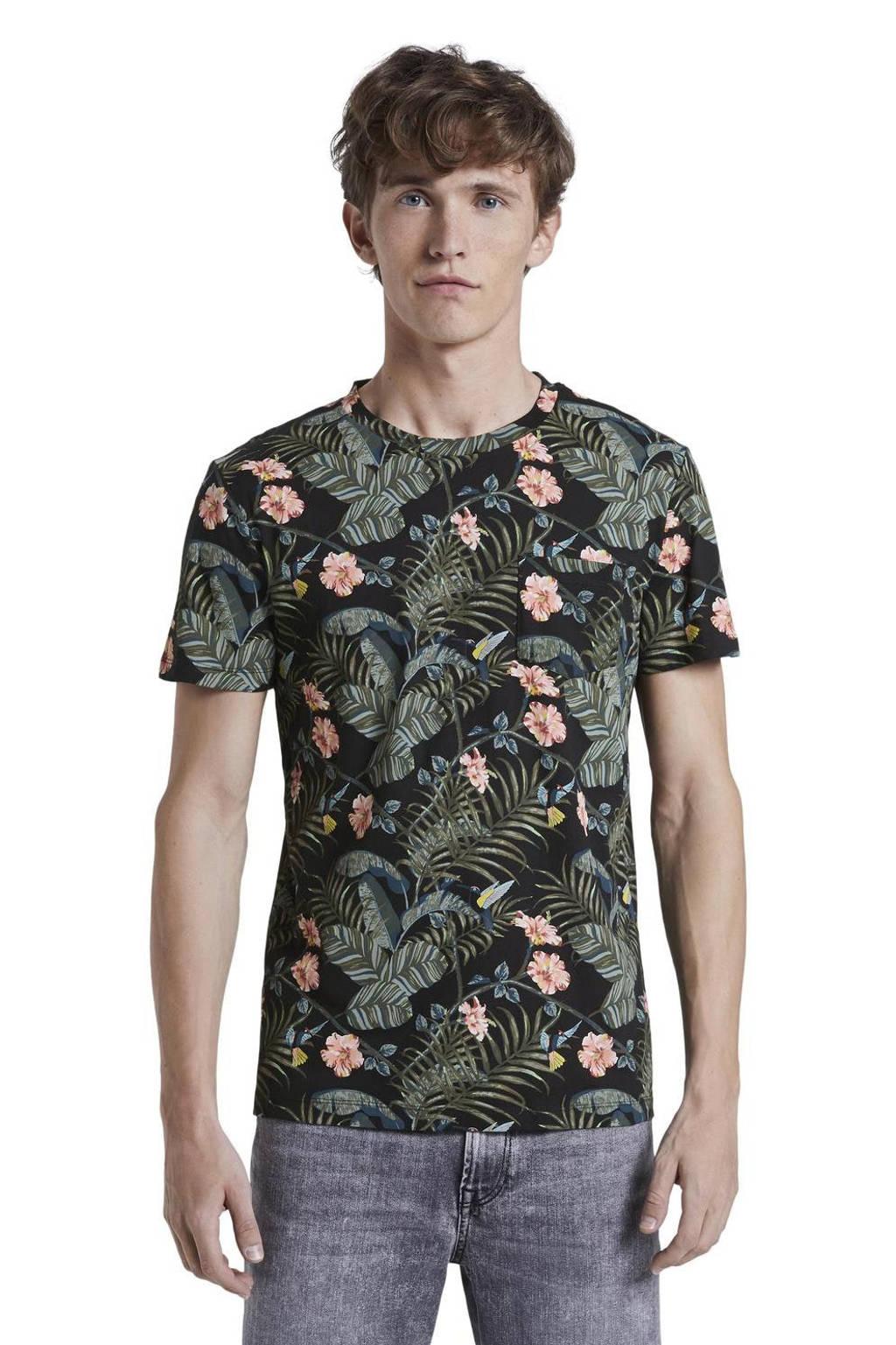 Tom Tailor Denim gebloemd T-shirt zwart/groen, Zwart/groen