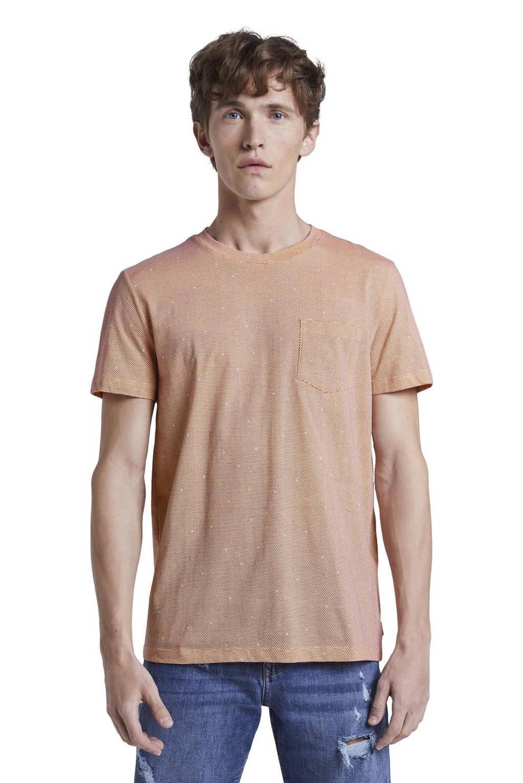 Tom Tailor Denim T-shirt met stippen zalm, Zalm