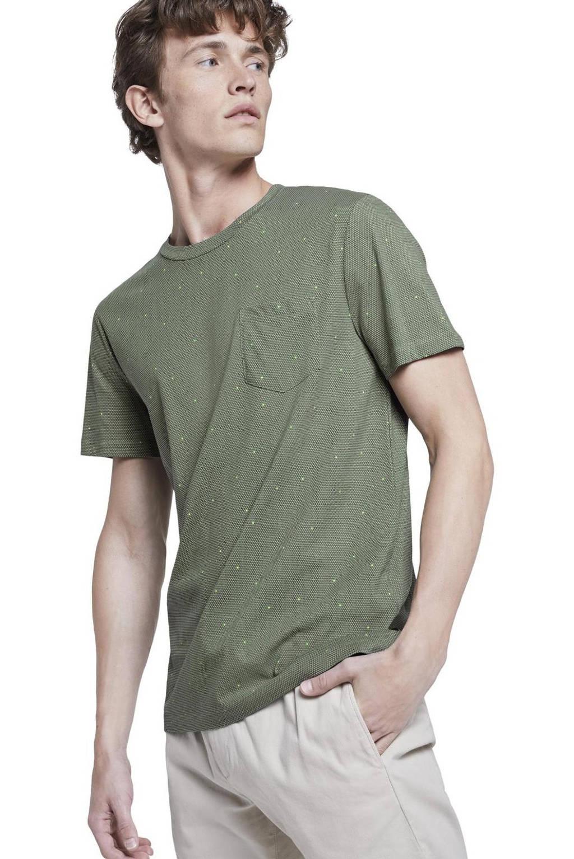 Tom Tailor Denim T-shirt met stippen kaki, Kaki