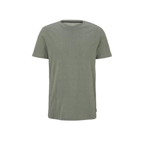 Tom Tailor Denim T-shirt met stippen kaki