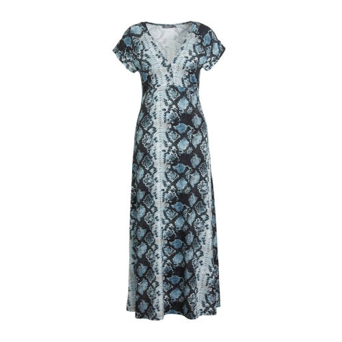 Geisha maxi jurk met slangenprint blauw/grijs/zwar