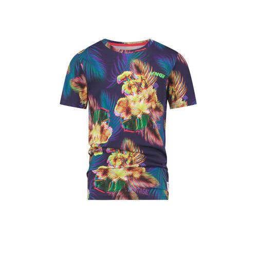 Vingino gebloemd T-shirt Haazim blauw/multicolor