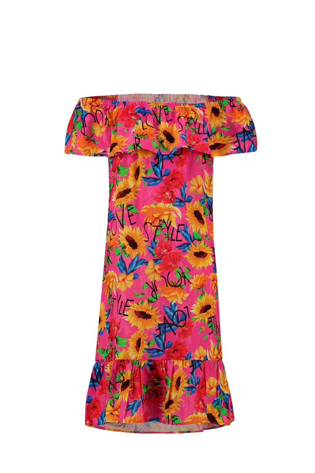 Vingino gebloemde off shoulder jurk Pelshin fuchsia/geel/blauw, Fuchsia/geel/blauw