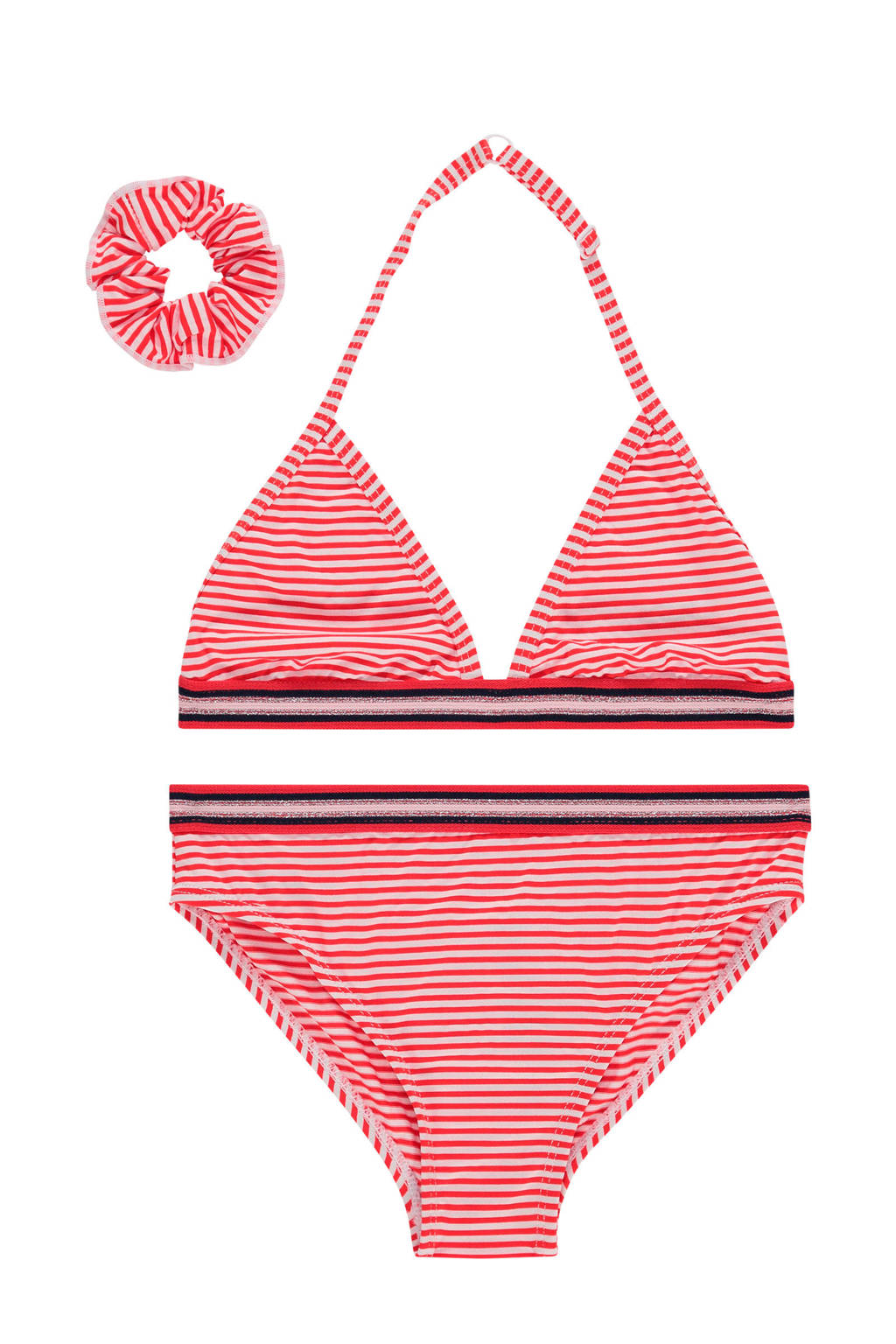 Vingino gestreepte triangel bikini Zetta + scrunchie roze/wit, Roze/wit