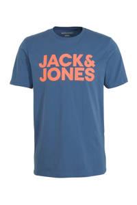 JACK & JONES ESSENTIALS T-shirt met tekst blauw/oranje, Blauw/oranje