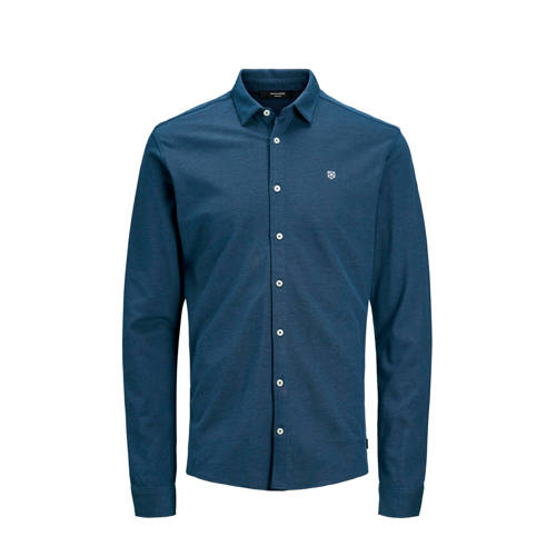 JACK & JONES PREMIUM slim fit overhemd donkerb