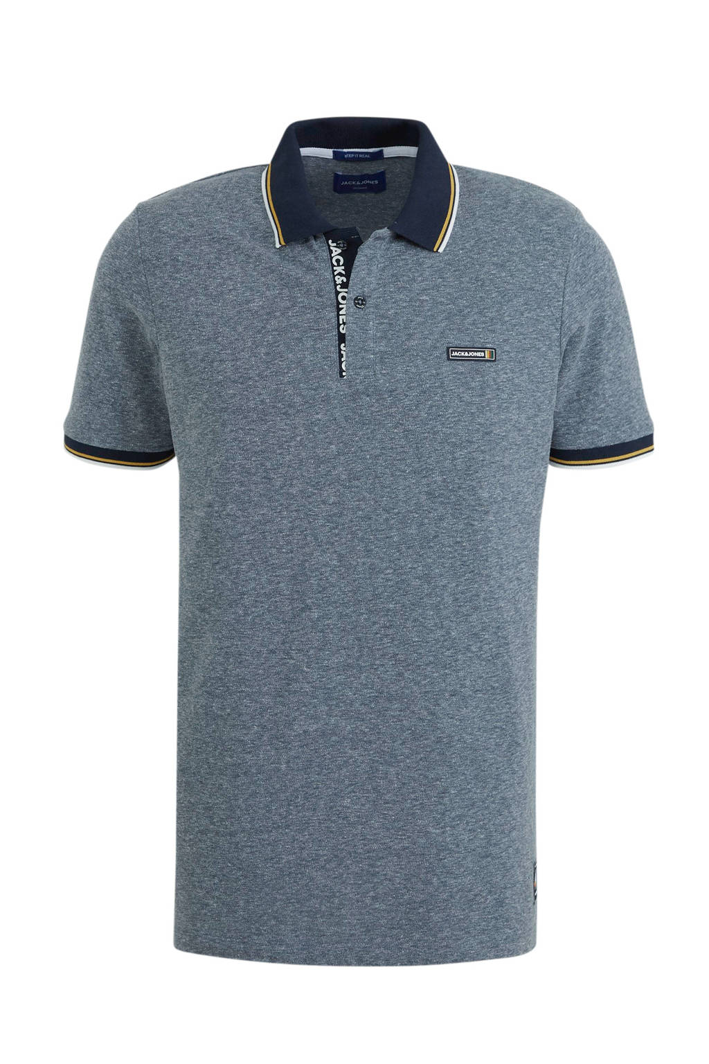 JACK & JONES ORIGINALS gemêleerde regular fit polo grijs, Grijs