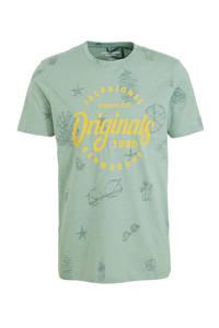 JACK & JONES ORIGINALS T-shirt Sander met printopdruk lichtgroen/geel, Lichtgroen/geel