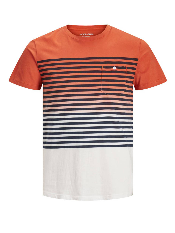 JACK & JONES ORIGINALS gestreept T-shirt Grade oranje, Oranje/blauw/wit