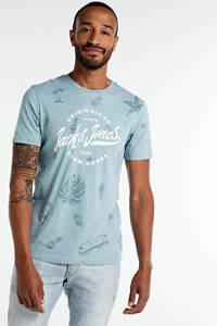 JACK & JONES ORIGINALS T-shirt Sander met all over print grijsblauw/wit, Grijsblauw/wit