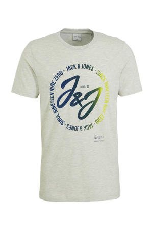 T-shirt met printopdruk wit/blauw/geel