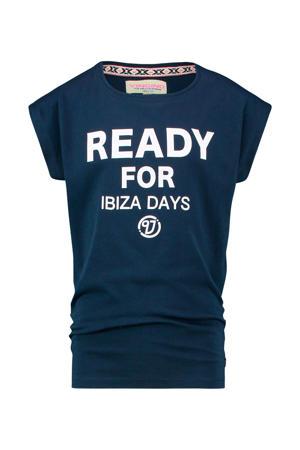 T-shirt Halinde met tekst donkerblauw/wit
