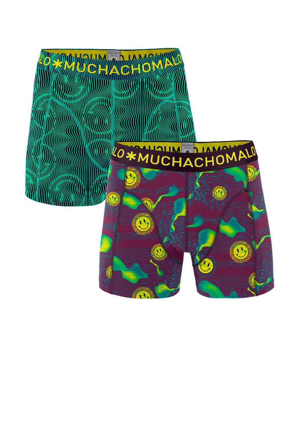 Muchachomalo Junior  boxershort Acid - set van 2 groen/paars, Groen/paars