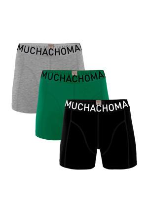 Junior  boxershort Solid - set van 3 zwart/groen/grijs