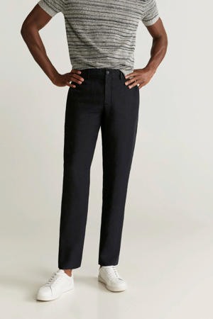 linnen slim fit pantalon zwart