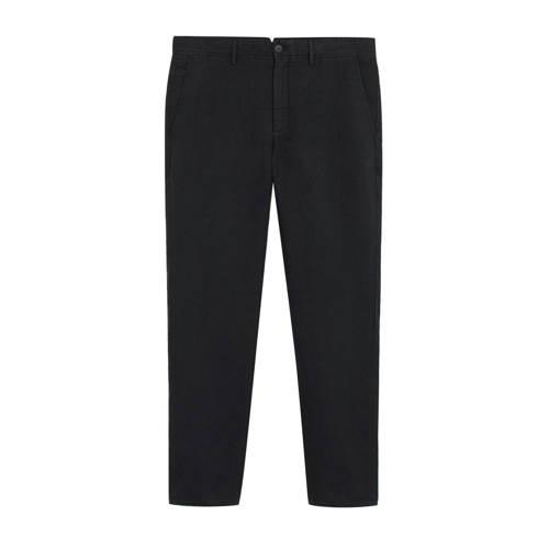 Mango Man linnen slim fit pantalon zwart