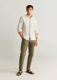 Mango Man linnen slim fit overhemd wit, Wit