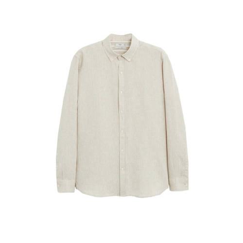 Mango Man linnen slim fit overhemd wit