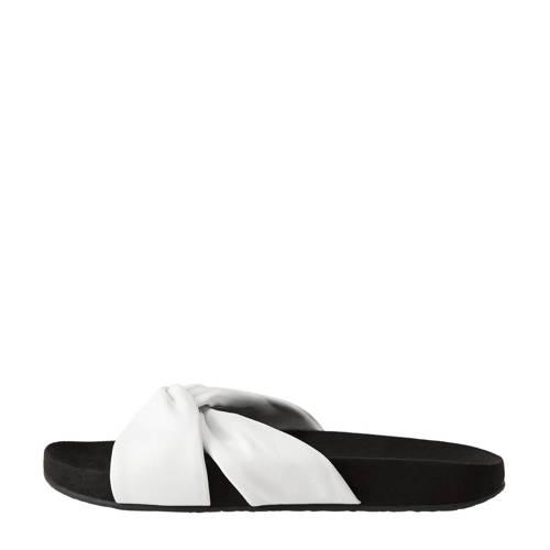 Violeta by Mango leren slippers wit