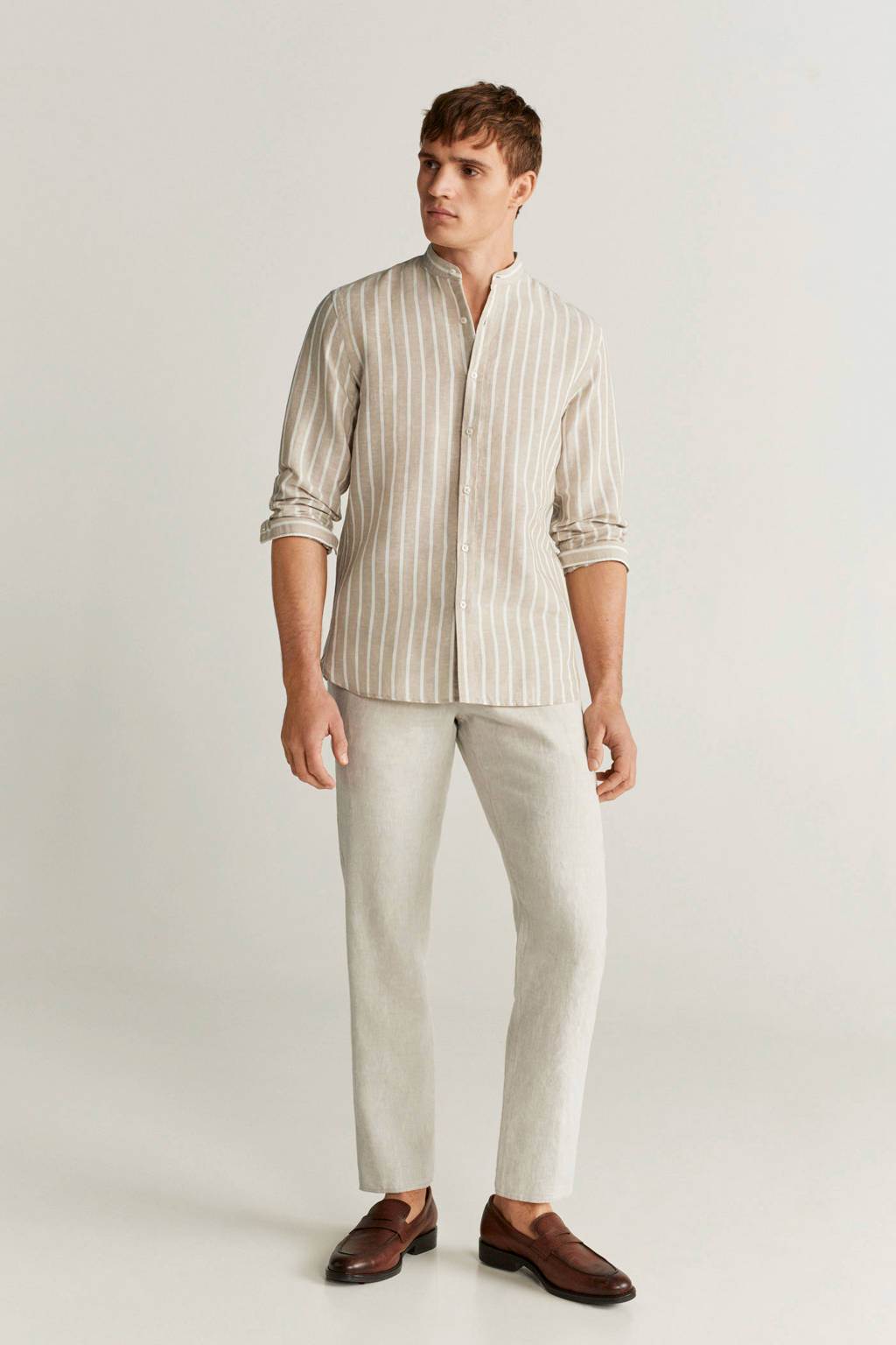 Mango Man gestreept regular fit overhemd pastelbruin