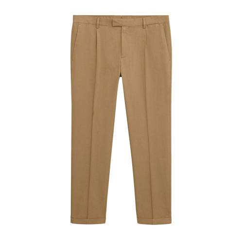 Mango Man slim fit pantalon met wol middenbruin