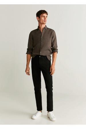 linnen slim fit overhemd bruin
