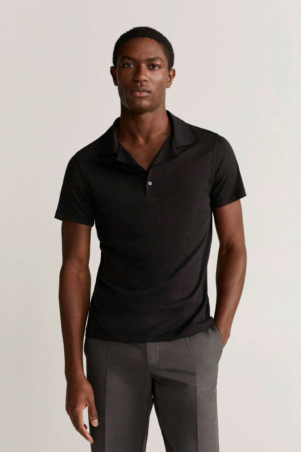 Mango Man slim fit polo zwart, Zwart