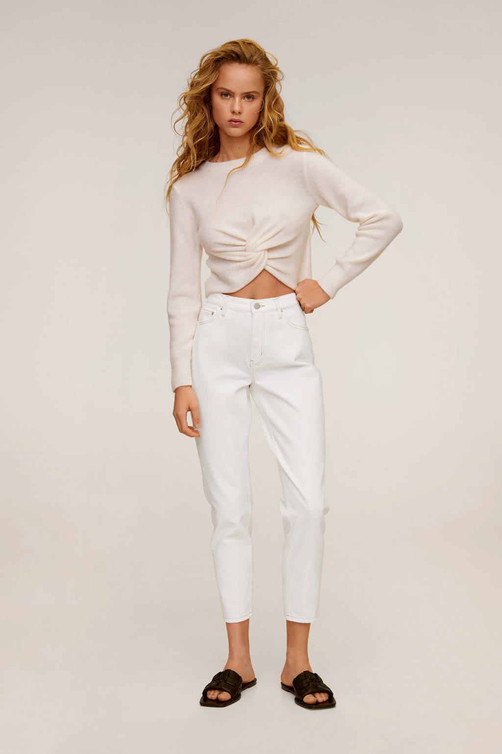 Mango cropped high waist mom jeans wit, Wit