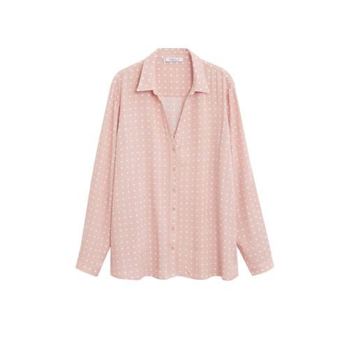 Violeta by Mango blouse met stippen roze/wit