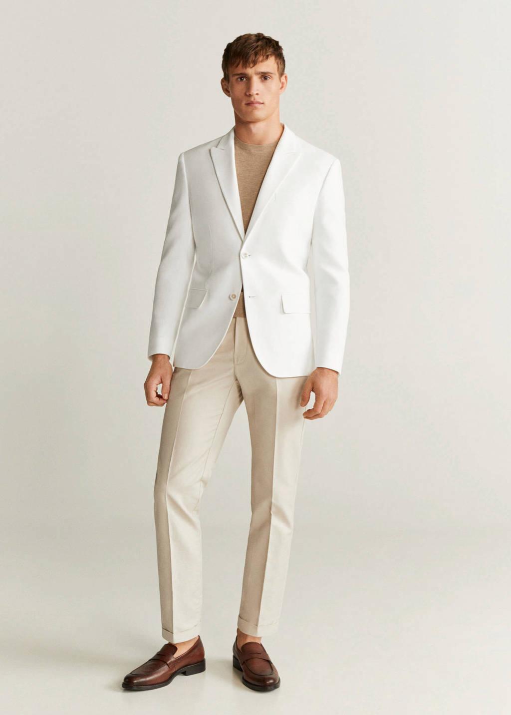 Mango Man slim fit colbert met wol wit, Wit