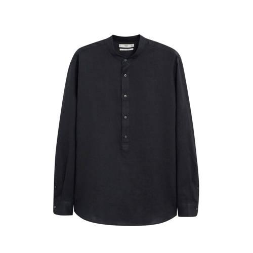 Mango Man linnen regular fit overhemd zwart