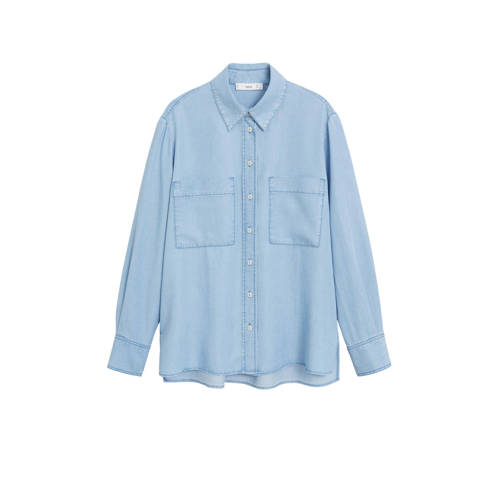 Mango gem??leerde blouse light blue denim