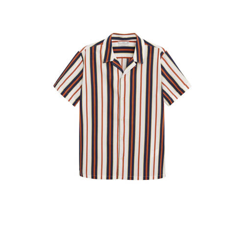 Mango Man gestreept regular fit overhemd lichtbeig