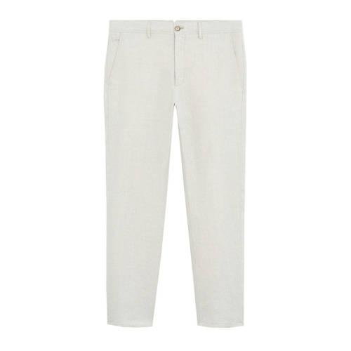 Mango Man linnen slim fit pantalon lichtbeige