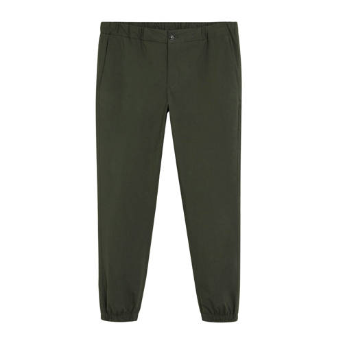 Mango Man slim fit pantalon donkergroen