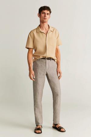 linnen slim fit pantalon middenbruin