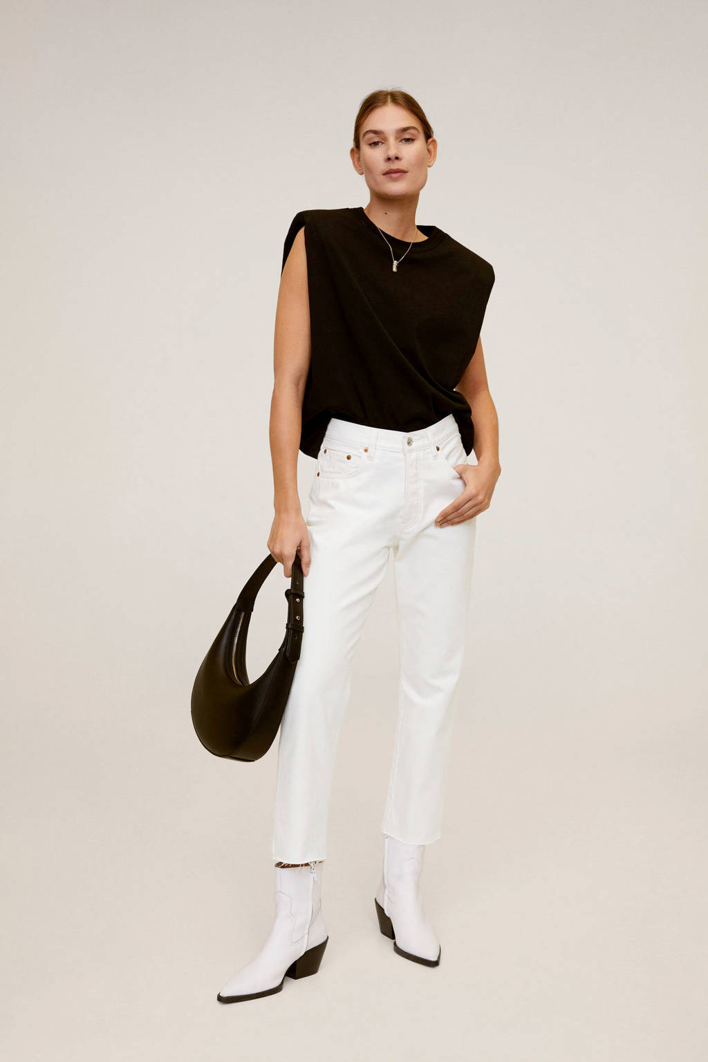 Mango high waist straight fit jeans wit, Wit