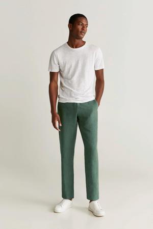 linnen slim fit pantalon middengroen