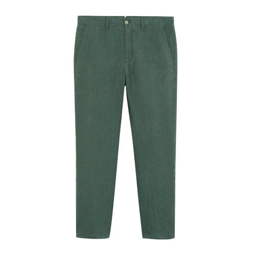 Mango Man linnen slim fit pantalon middengroen