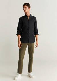 Mango Man linnen slim fit overhemd zwart, Zwart