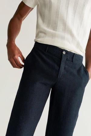 linnen slim fit pantalon marineblauw