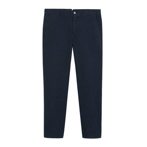 Mango Man linnen slim fit pantalon marineblauw